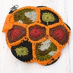 [今が狙い目!冬セール]お花の手編みポーチ 【オレンジ】