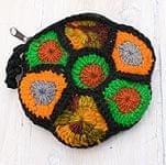 お花の手編みポーチ 【ブラック】