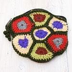 お花の手編みポーチ 【モスグリーン】
