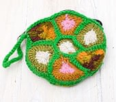 お花の手編みポーチ 【グリーン】