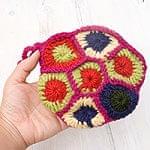 お花の手編みポーチ 【ピンク】