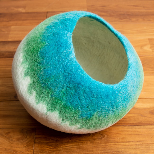 ネパールフェルトの猫ちぐら しっかりめ丸形タイプ 14 - 1:青緑(4K0)