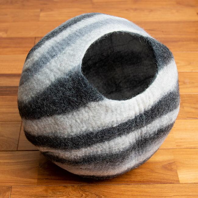 ネパールフェルトの猫ちぐら しっかりめ丸形タイプ 15 - 2:ゼブラ(4L0)