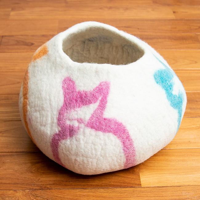ネパールフェルトの猫ちぐら しっかりめ丸形タイプ 17 - 4:ねこねこ(4ZB0)