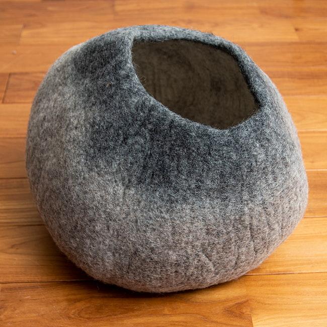 ネパールフェルトの猫ちぐら しっかりめ丸形タイプ 18 - 5:アメショ(4ZB0)