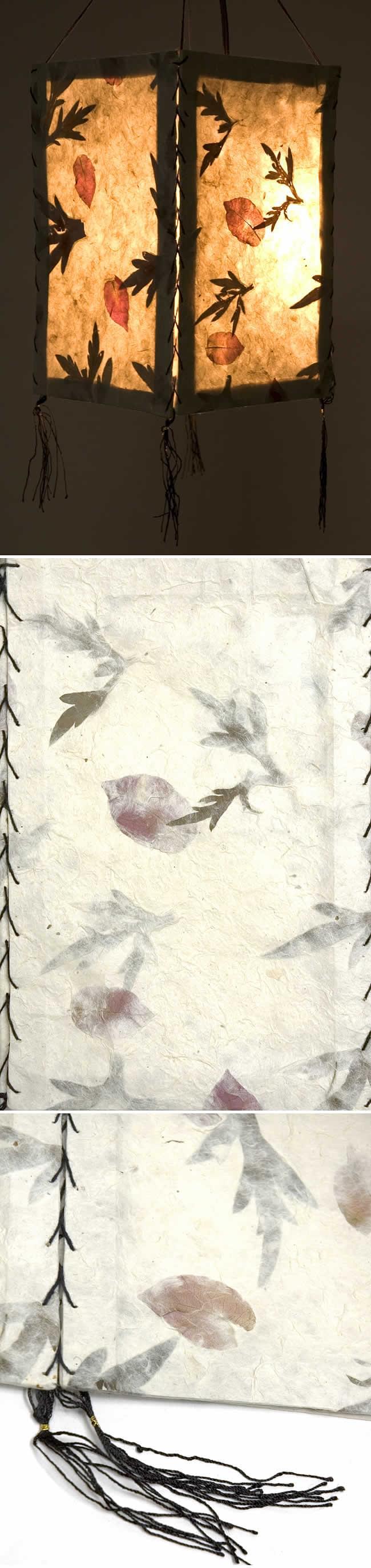 ロクタ紙葉柄ランプシェード(4面タイプ)の写真1