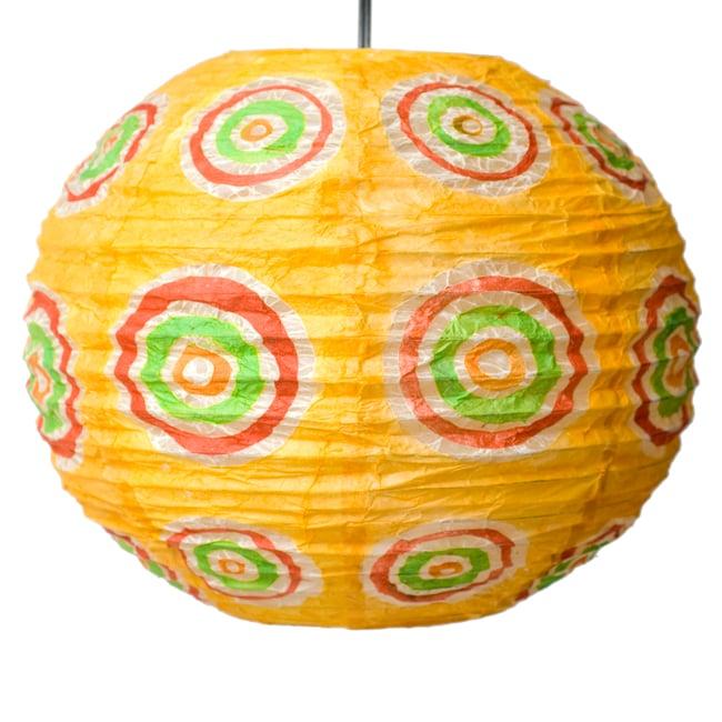 ロクタ紙ランプシェード − 円盤型 − 小(黄)の写真3 - 全体写真です