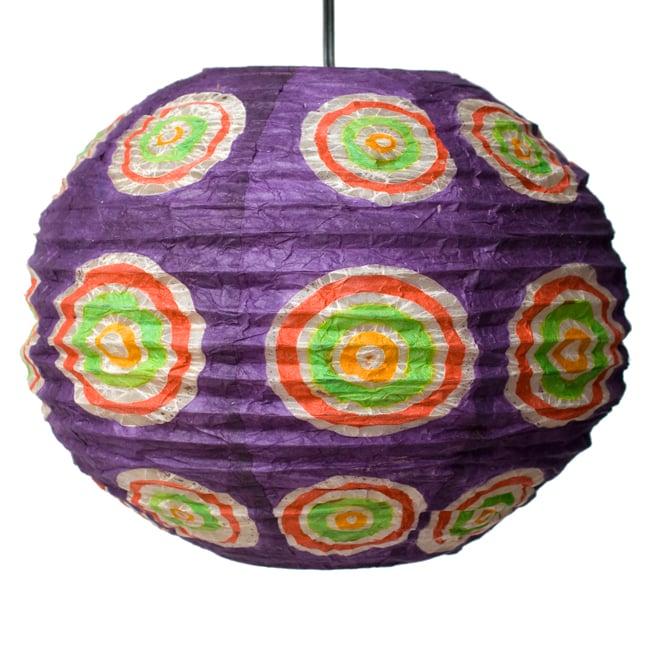 ロクタ紙ランプシェード − 円盤型 − 小(紫)の写真3 - 全体写真です