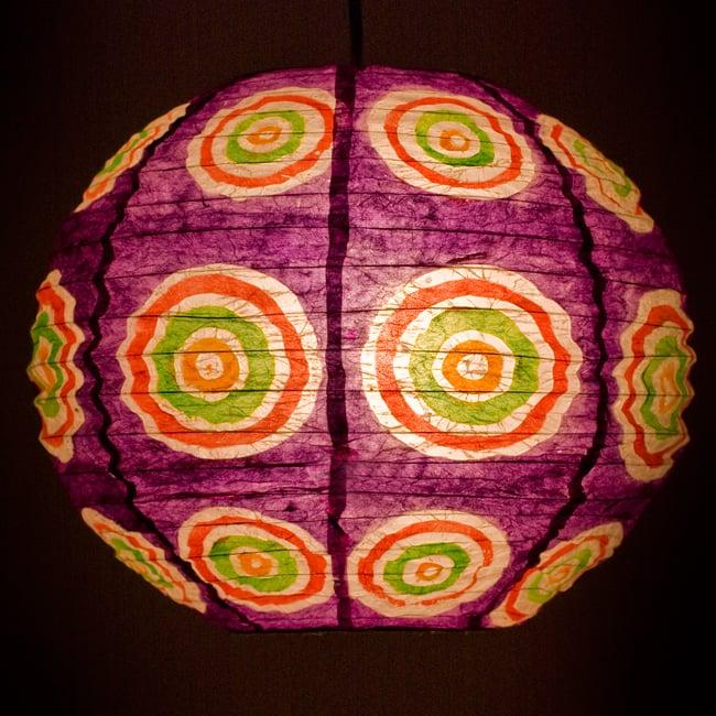 ロクタ紙ランプシェード − 円盤型 − 小(紫)の写真