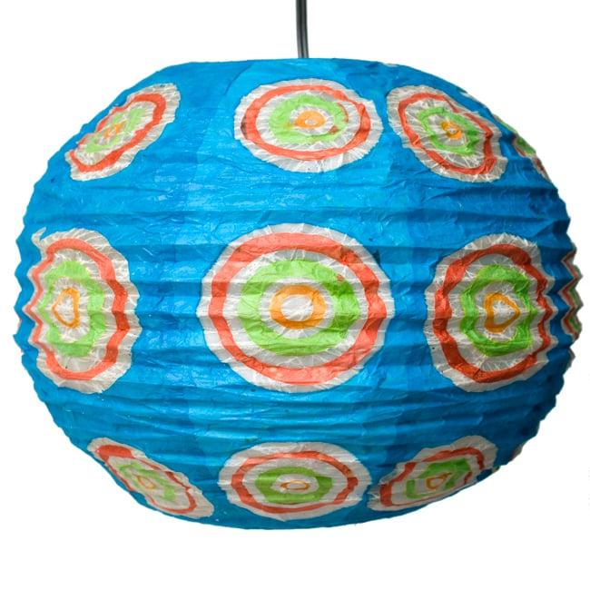 ロクタ紙ランプシェード − 円盤型 − 小(水色)の写真3 - 全体写真です