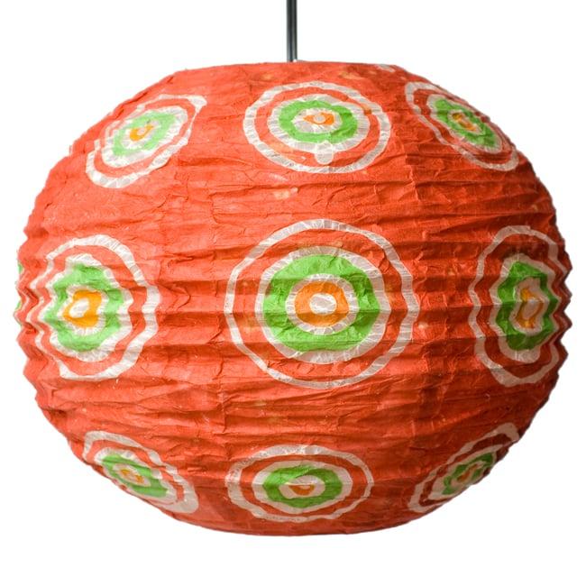 ロクタ紙ランプシェード − 円盤型 − 小(赤)の写真3 - 全体写真です