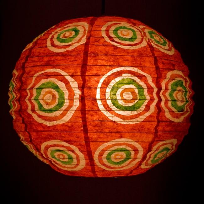 ロクタ紙ランプシェード − 円盤型 − 小(赤)の写真