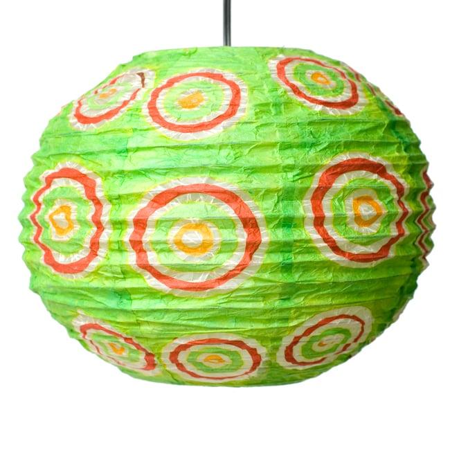ロクタ紙ランプシェード − 円盤型 − 小(黄緑)の写真3 - 全体写真です