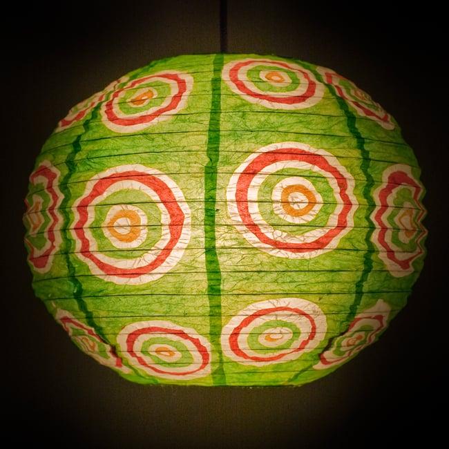 ロクタ紙ランプシェード − 円盤型 − 小(黄緑)の写真