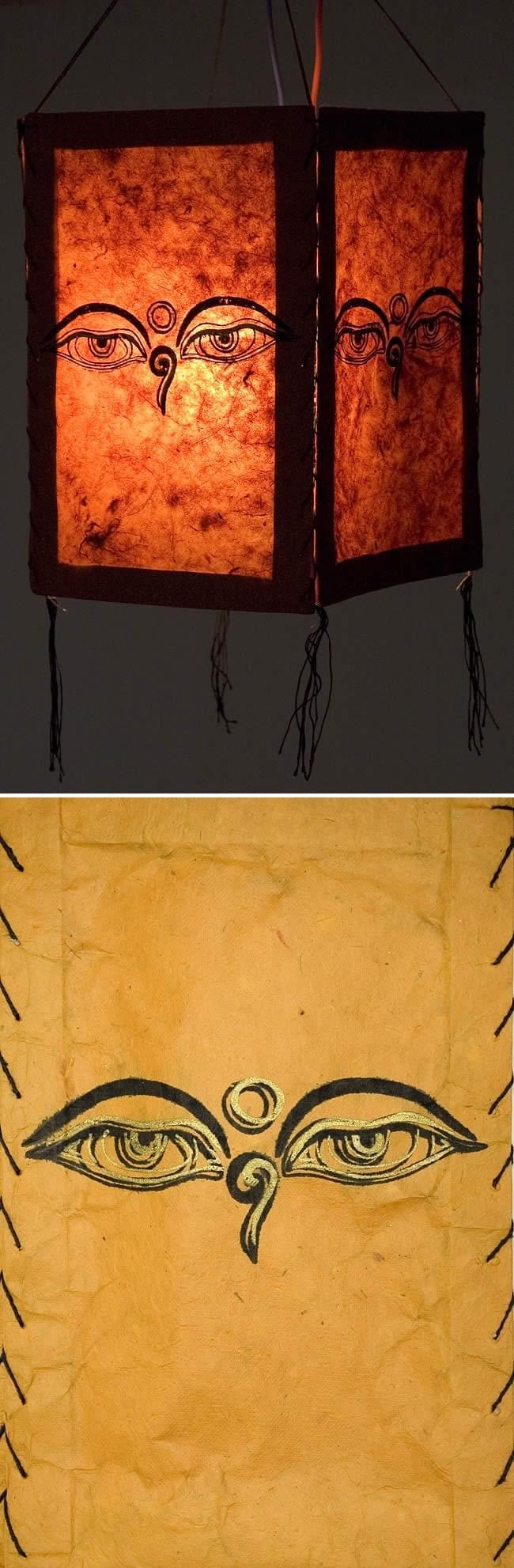 ロクタ紙ランプシェード(4面タイプ)-ブッダアイの写真1