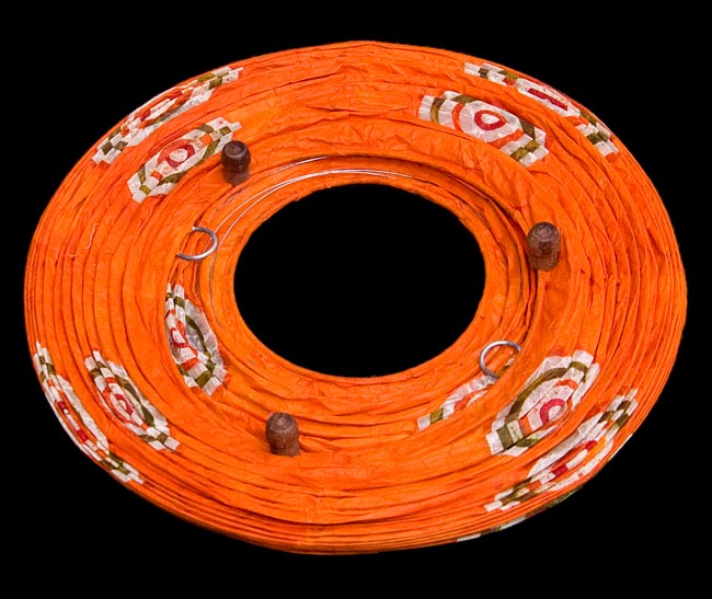 [ワケアリ・付属品不足]ロクタ紙ランプシェード(床置きタイプ)-オレンジ・丸の写真4 -