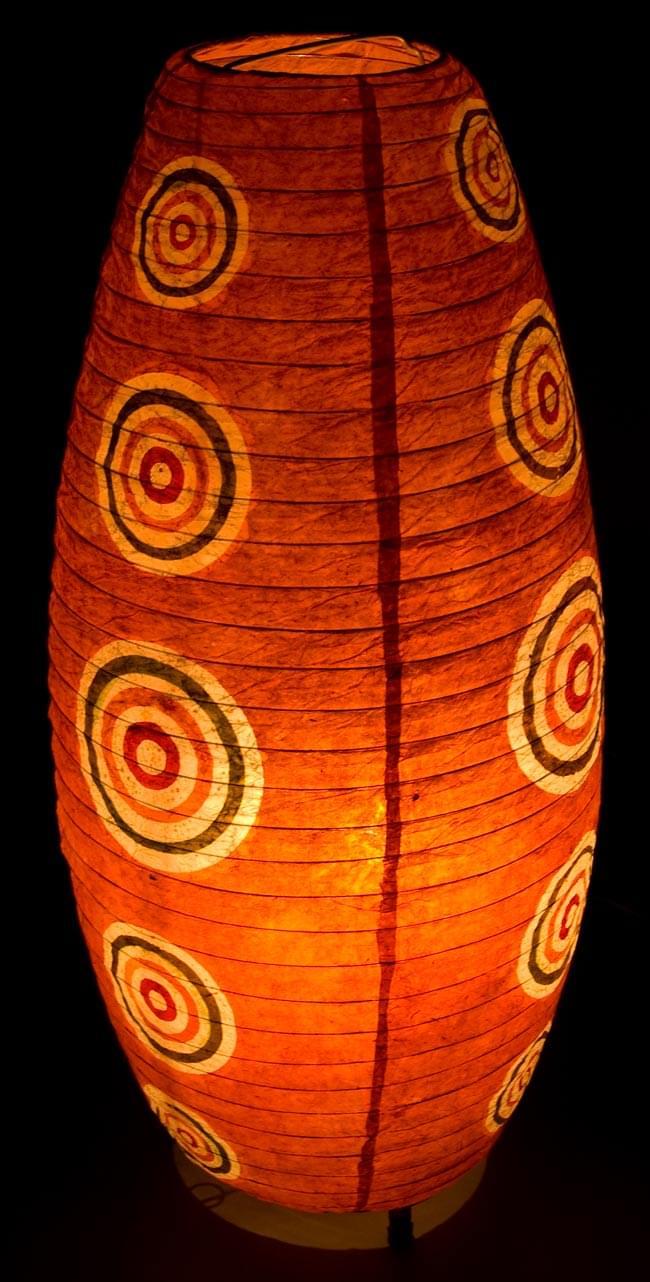 [ワケアリ・付属品不足]ロクタ紙ランプシェード(床置きタイプ)-オレンジ・丸の写真