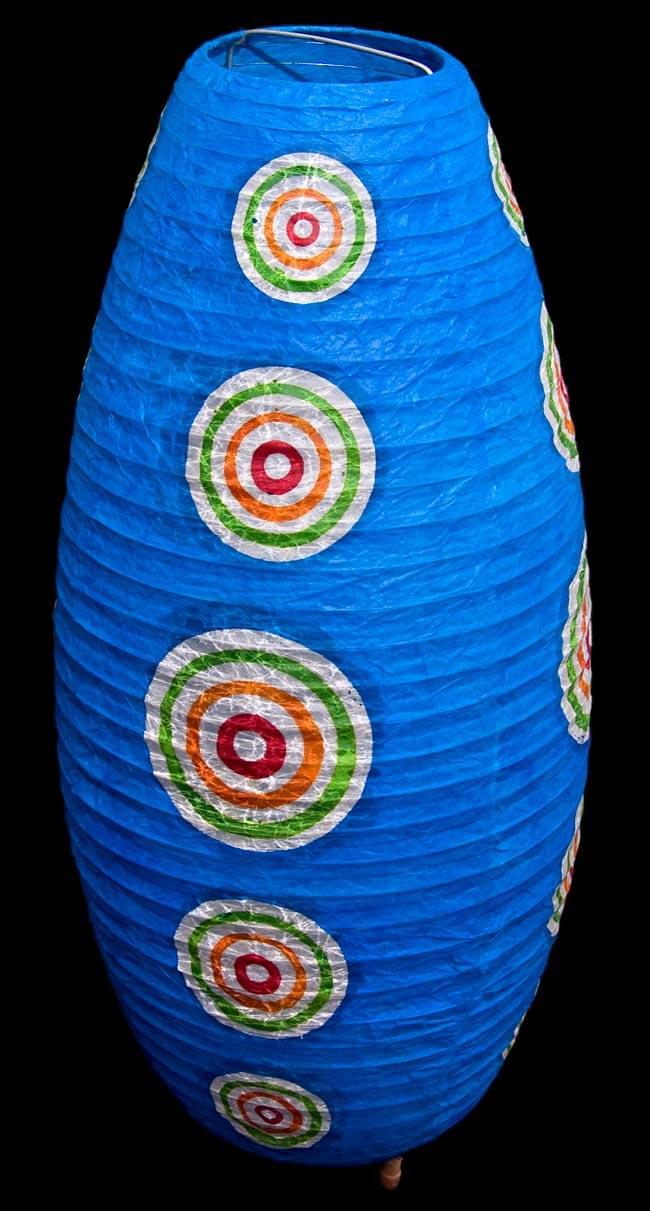 [ワケアリ・付属品不足]ロクタ紙ランプシェード(床置きタイプ)-水・丸の写真3 - ランプを消してフラッシュ撮影した写真です。