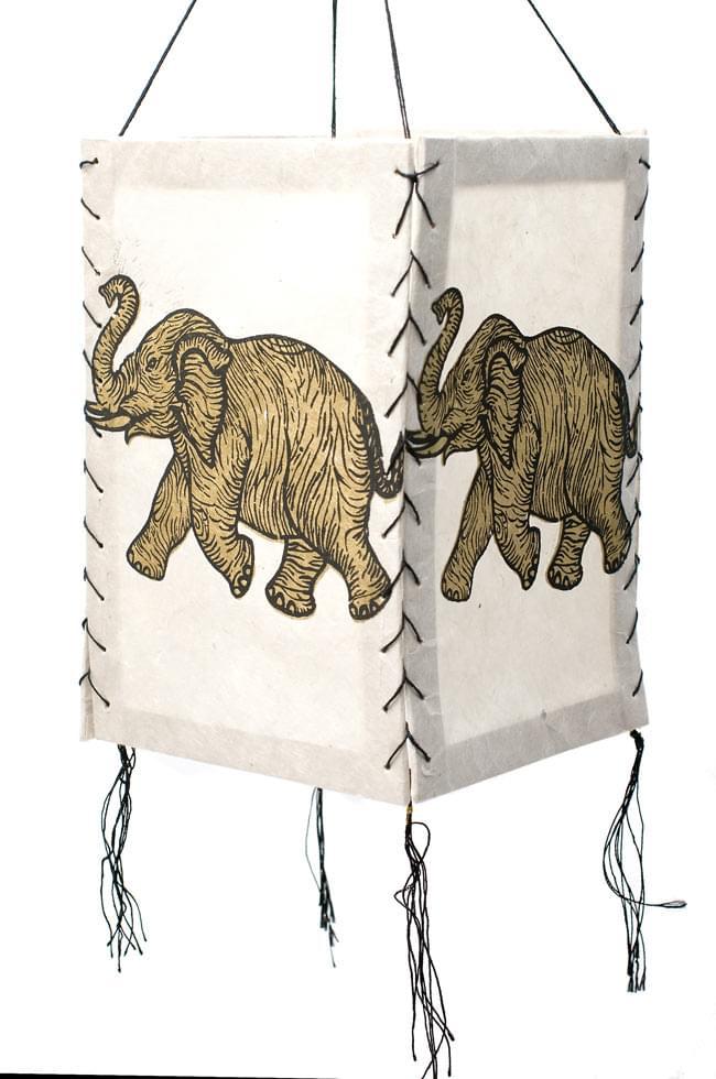 ロクタ紙 -四面ランプシェード 象 2 - 吊るすだけでもオシャレです。
