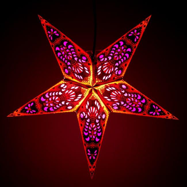 〔インドクオリティ〕星型ランプシェード - オレンジ×ピンクの写真
