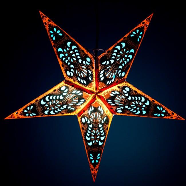 〔インドクオリティ〕星型ランプシェード - オレンジ×青の写真