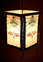 ロクタ紙 四面ランプシェード - ストゥーパとブッダアイの商品写真