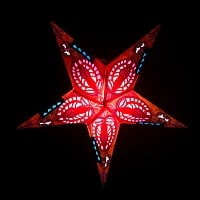 星型ランプシェード〔インドクオリティ〕 - オレンジ・イエロー