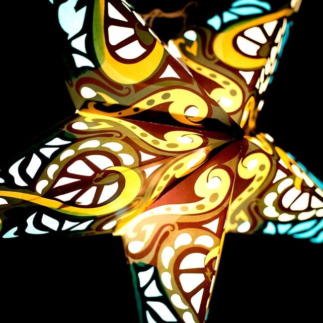 星型ランプシェード〔インドクオリティ〕 - フラワー・グリーン 3 - 別の角度からの写真です