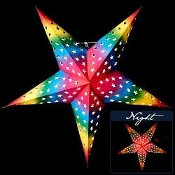 星型ランプシェード〔インドクオリティ〕 - 星空レインボー