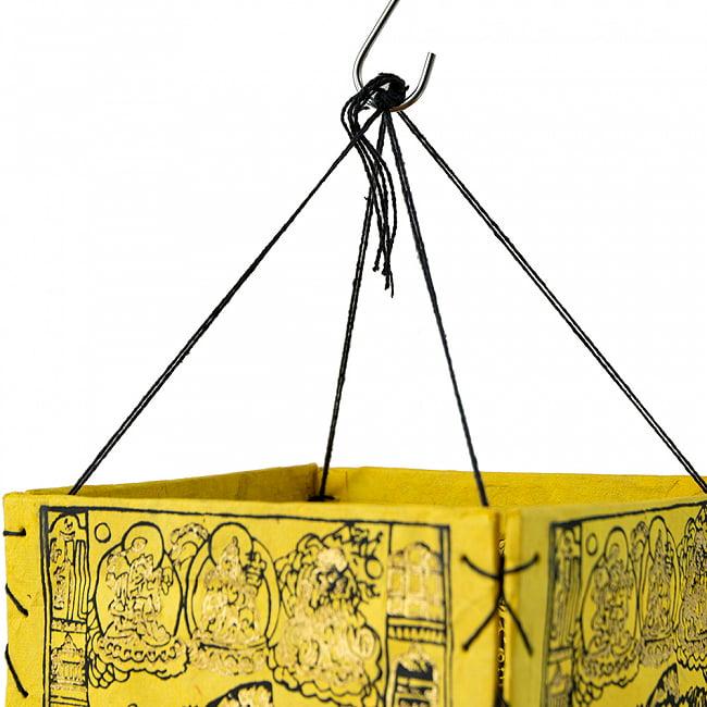 ロクタ紙 四面ランプシェード - 六道輪廻マンダラ 4 - フックなどでかんたんに吊り下げできます。