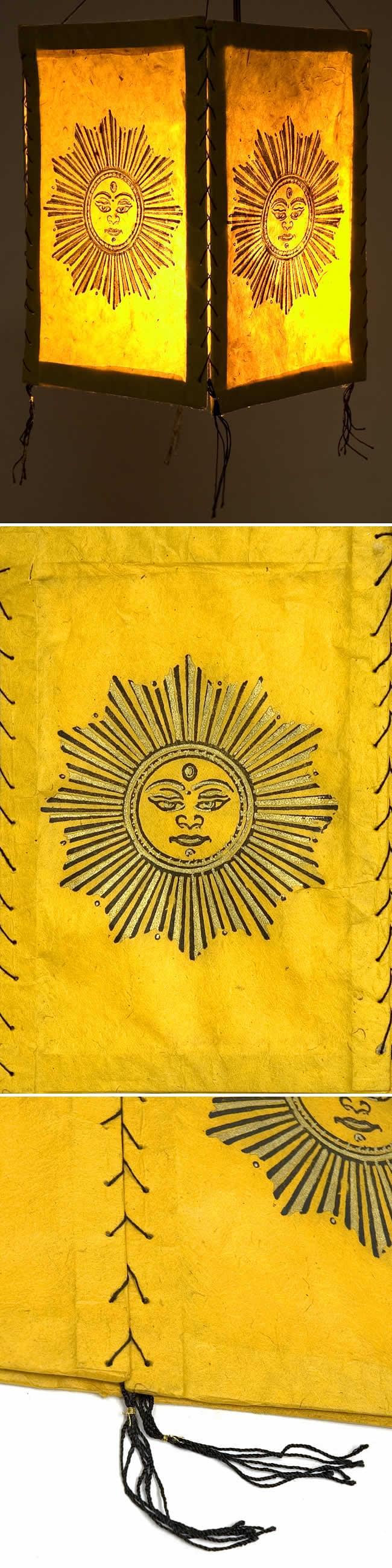 ロクタ紙太陽柄ランプシェード(4面タイプ)の写真1