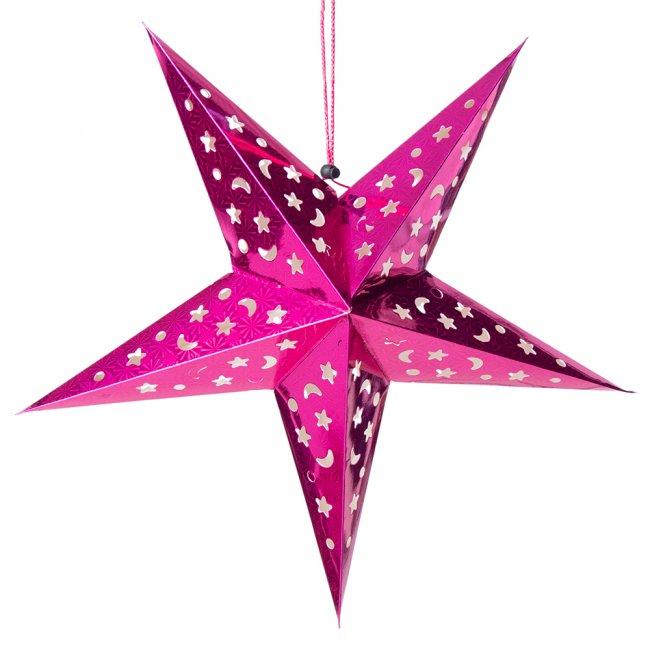 【選べる5個セット】星型ランプデコレーション - 直径:約55cm 2 - 選択1:ピンク
