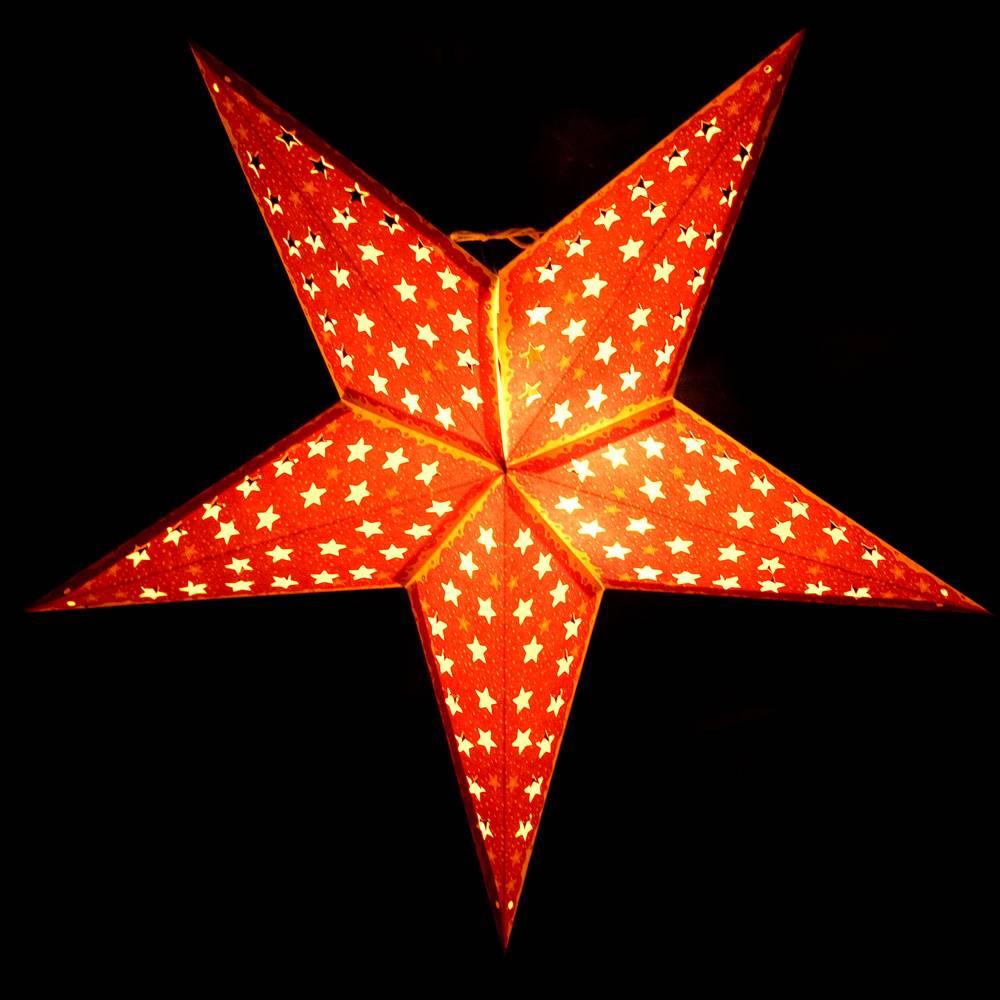 〔3個セット〕自由に選べる星型ランプシェード〔インドクオリティ〕アドベントスター 4 - 灯りを灯すとこのような感じになります