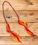 ぐねぐねワイヤー入り・ふわふわカラフルブレスレット - 黄×オレンジ×赤系