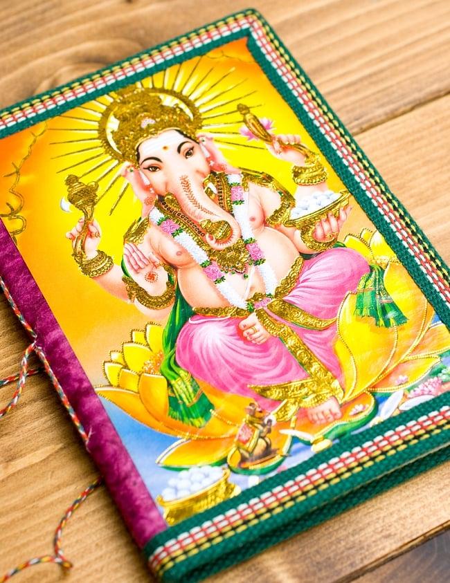 〈18cm×13cm〉インドの神様柄メモ帳 ガネーシャ 3 - 裏面はこんな感じです
