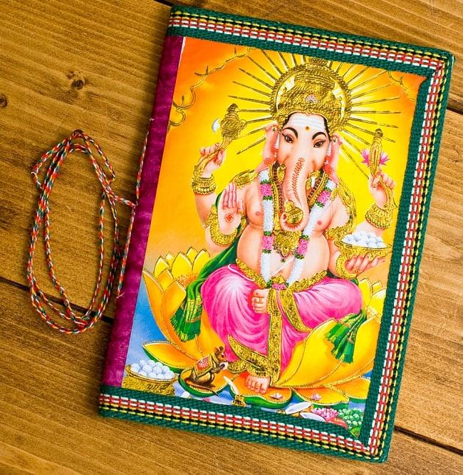 〈18cm×13cm〉インドの神様柄メモ帳 ガネーシャの写真