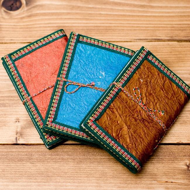 〈12.8cm×8.5cm〉インドの神様柄紙メモ帳 - ブッダ 5 - 背と裏面は1点づつ配色がことなりますので、予めご了承くださいませ。どちらの色もとても綺麗です。