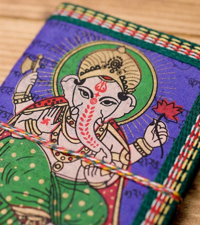 〈12.8cm×8.5cm〉インドの神様柄紙メモ帳 - ガネーシャの写真3 - 拡大写真です