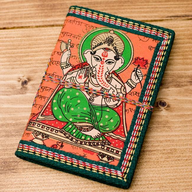 〈12.8cm×8.5cm〉インドの神様柄紙メモ帳 - ガネーシャの写真5 - 【選択B:オレンジ】の写真です