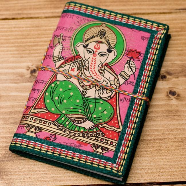 〈12.8cm×8.5cm〉インドの神様柄紙メモ帳 - ガネーシャの写真6 - 【選択C:ピンク】の写真です
