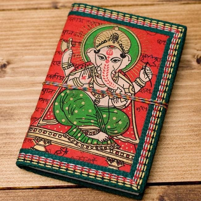 〈12.8cm×8.5cm〉インドの神様柄紙メモ帳 - ガネーシャの写真7 - 【選択D:赤】の写真です