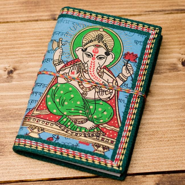 〈12.8cm×8.5cm〉インドの神様柄紙メモ帳 - ガネーシャの写真8 - 【選択E:水色】の写真です