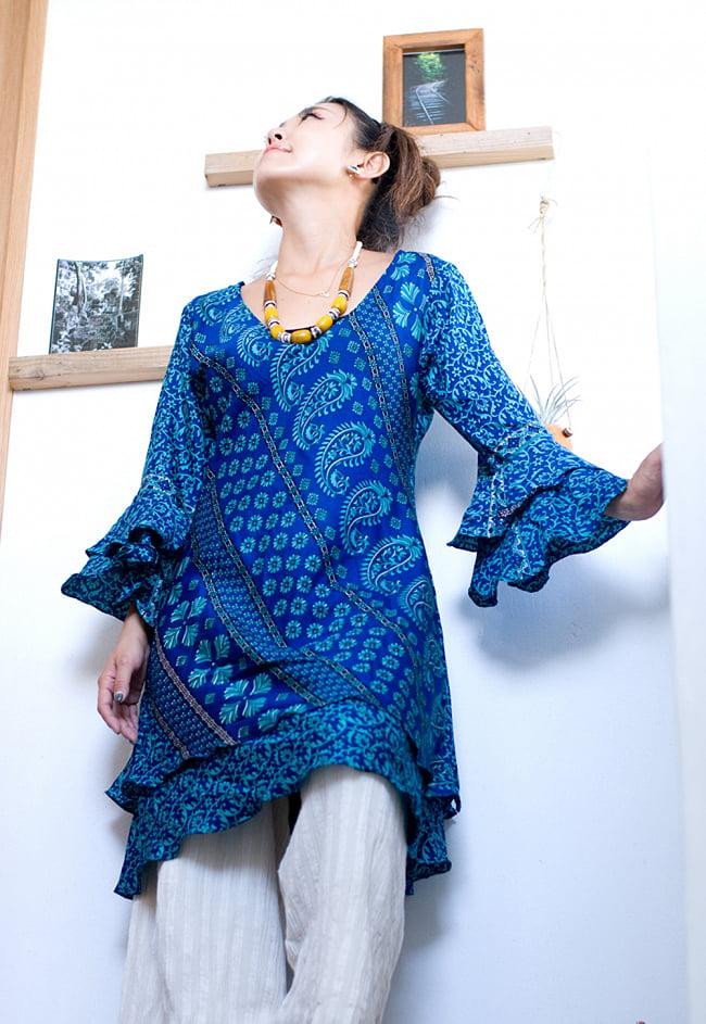 ヒラヒラ揺れる裾が可愛い!ベルスリーブワンピース 2 - オールドサリーの生地はとても軽やかなので着心地も最高です。
