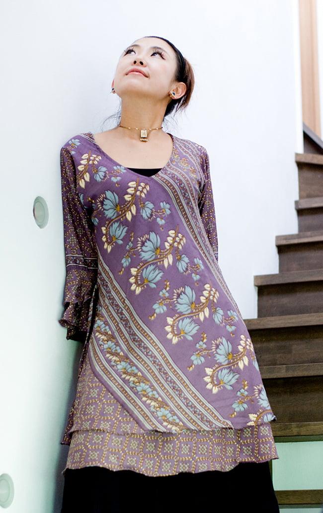 ヒラヒラ揺れる裾が可愛い!ベルスリーブワンピース 3 - 身長152㎝のモデル着用例です。
