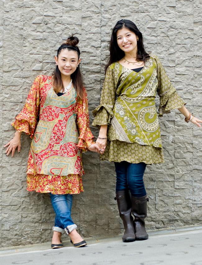 ヒラヒラ揺れる裾が可愛い!ベルスリーブワンピース 5 - 身長152㎝と165㎝のモデル着用例になります。