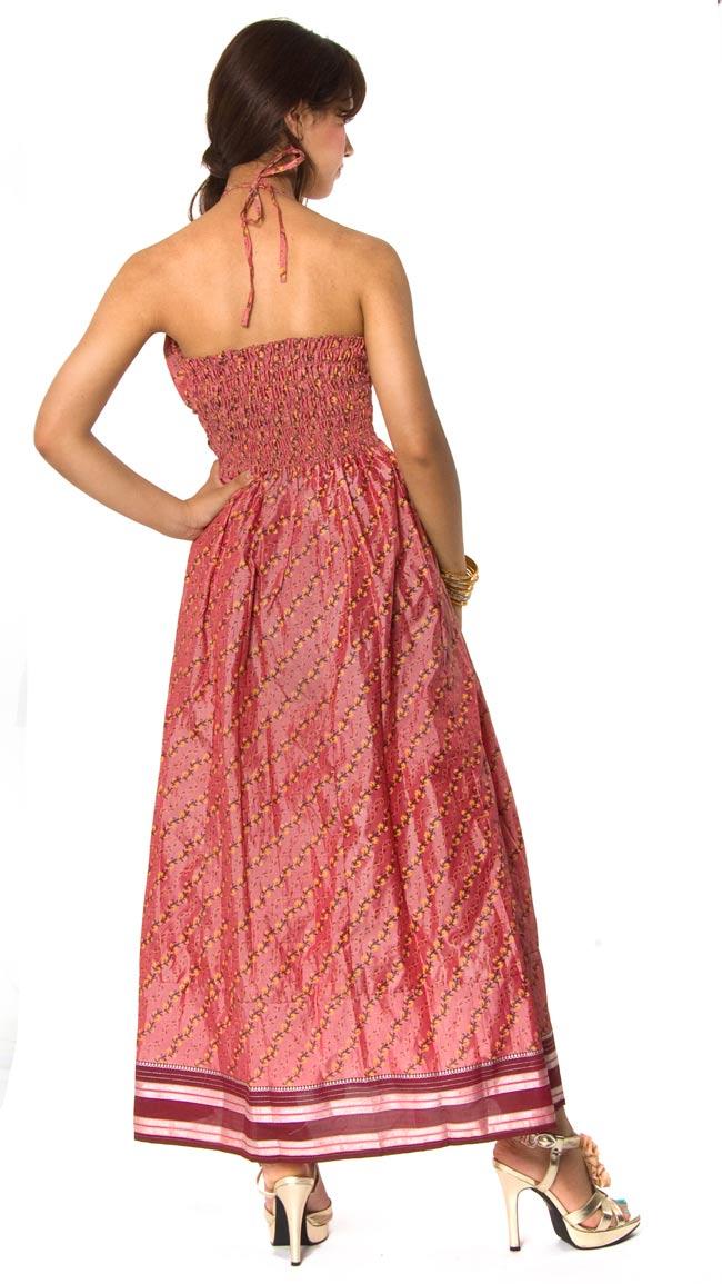 オールドサリーマキシワンピース - ピンク・赤紫系 2 - ホルダーネックです。
