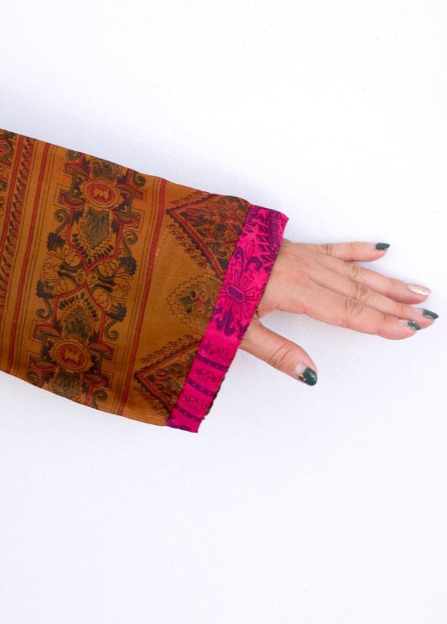 オールドサリーロングカシュクール - 紫・青系 10 - 袖口のアップです。