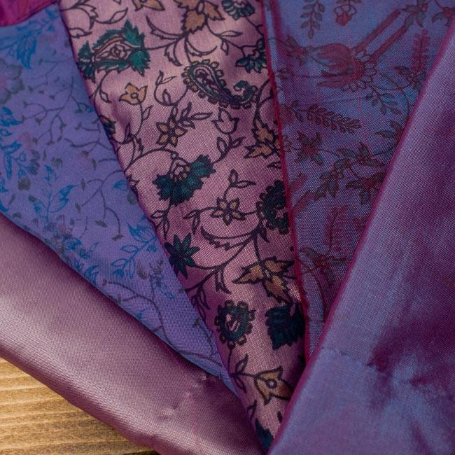 オールドサリーロングカシュクール - 紫・青系 3 - こちらの商品はひとつひとつ風合いが異なります。アソートでのお届けとなりますので、モデルが着用しているものが必ず届くわけではありません。ご理解いただけますようお願い致します。