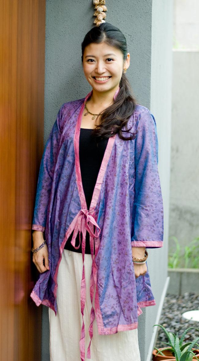 オールドサリーロングカシュクール - 紫・青系の写真
