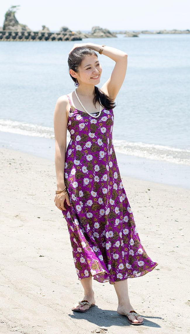 オールドサリーAラインサマードレス 10 - 身長165cmのスタッフのミディアム丈着用例です。 こちらは裏生地はついていません。